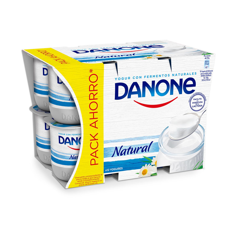 Yogur natural Danone pack de 12 unidades de 125 g.