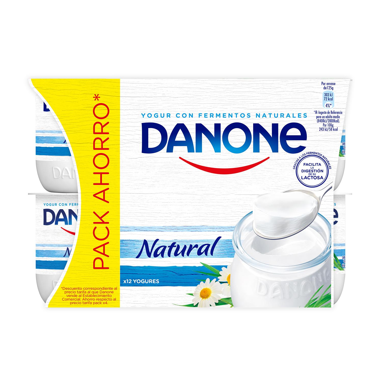 Yogur natural Danone pack de 12 unidades de 125 g. -