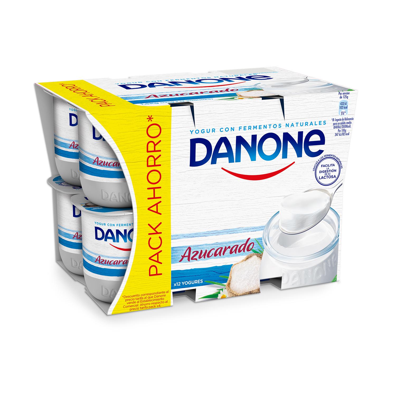Yogur azucarado natural Danone pack de 12 unidades de 125 g.