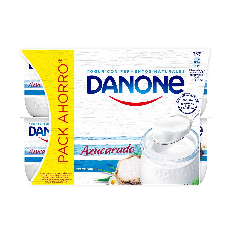 Yogur azucarado natural Danone pack de 12 unidades de 125 g. -