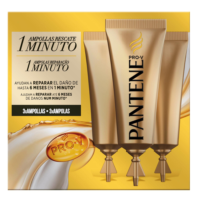Ampollas Rescate 1 Minuto para cabello teñido o dañado Pantene 3 ud.