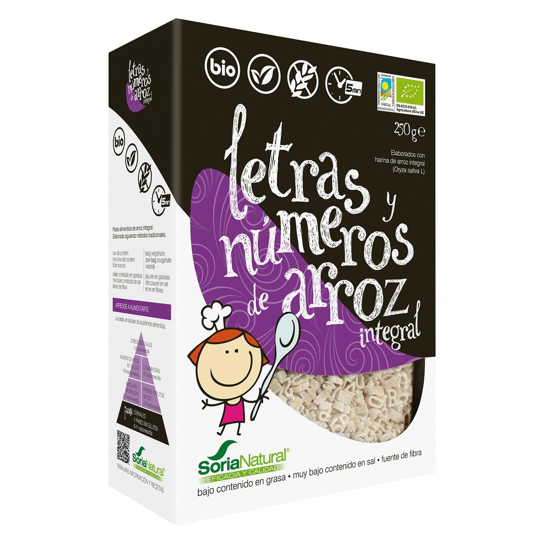 Letras y números de arroz ecológico Soria Natural integral sin gluten 250 g.