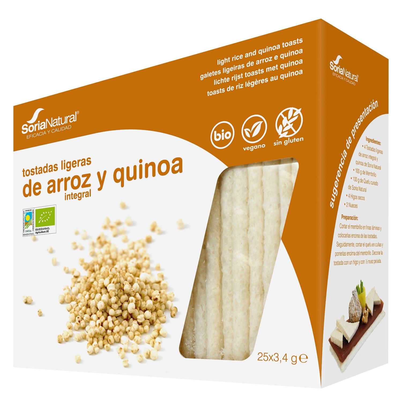 Tostadas ligeras de arroz integral y quinoa ecológicas Soria Natural sin gluten 85 g.