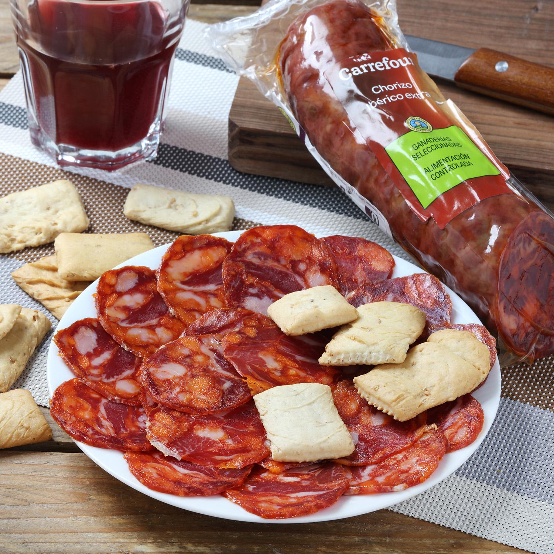 Chorizo ibérico de cebo 50% raza ibérica Carrefour Calidad y Origen 1/3 pieza 500 g aprox -