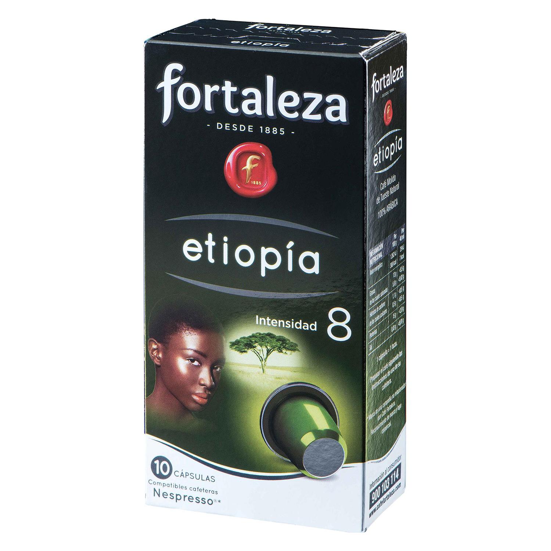 Café molido natural Etiopía en cápsulas Fortaleza compatible con Nespresso 10 unidades de 5 g.