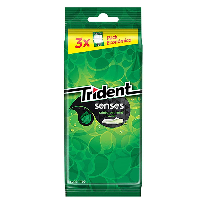 Chicle sabor hierbabuena Senses Trident 3 paquetes de 23 g.