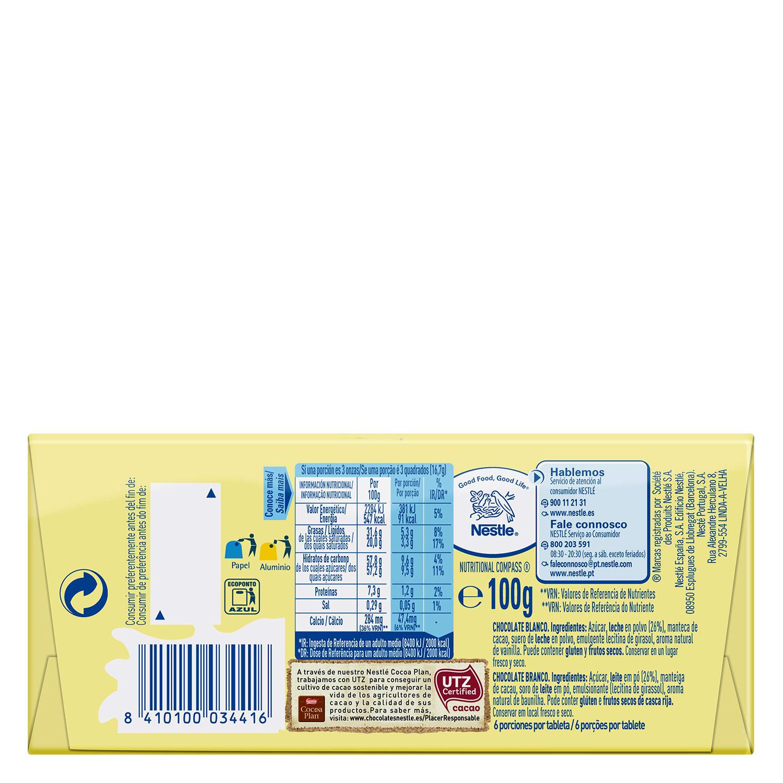 Chocolate blanco Nestlé Milkybar 100 g. -