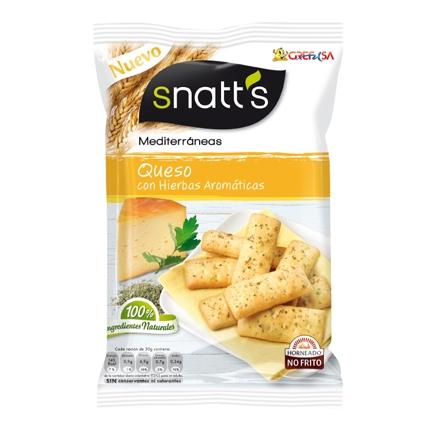 Palitos mediterráneos de queso con hierbas aromáticas Grefusa Snatt's 110 g.