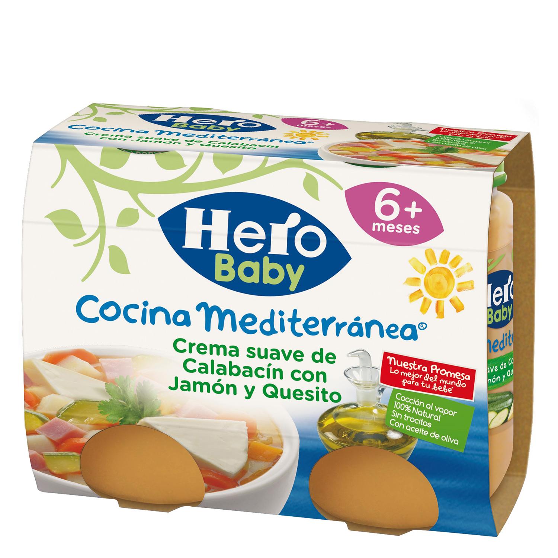 Crema suave de Calabacín con Jamón y Quesito para Bebés Hero Baby Cocina Mediterránea pack de 2 unidades de 200 g.