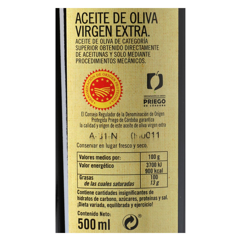 Aceite de oliva virgen extra De Nuestra Tierra D.O Priego de Córdoba -