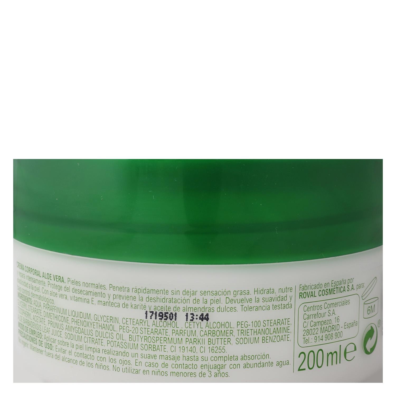 Crema corporal Aloe Vera pieles normales Carrefour 200 ml. - 2