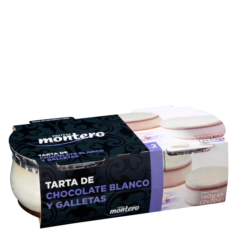 Tarta de chocolate blanco y galletas  Postres Montero pack de 2 unidades de 70 g.