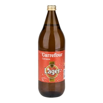 Cerveza Carrefour Lager botella 1 l.