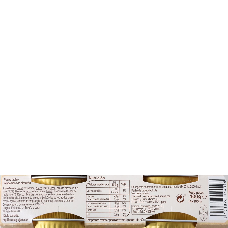 Flan de huevo con bizcocho a la miel Carrefour pack de 4 udnidades de 100 g. -