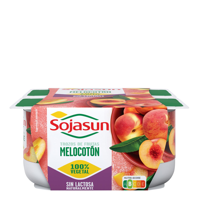 Preparado de soja con trozos de melocotón Sojasun sin lactosa pack de 4 unidades de 100 g. -