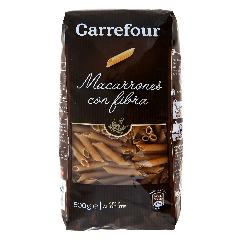 Macarrones Carrefour con fibra 500 g.