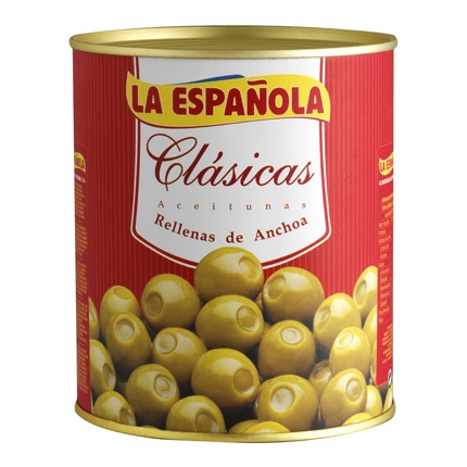 Aceitunas verdes rellenas de anchoa La Española 345 g.