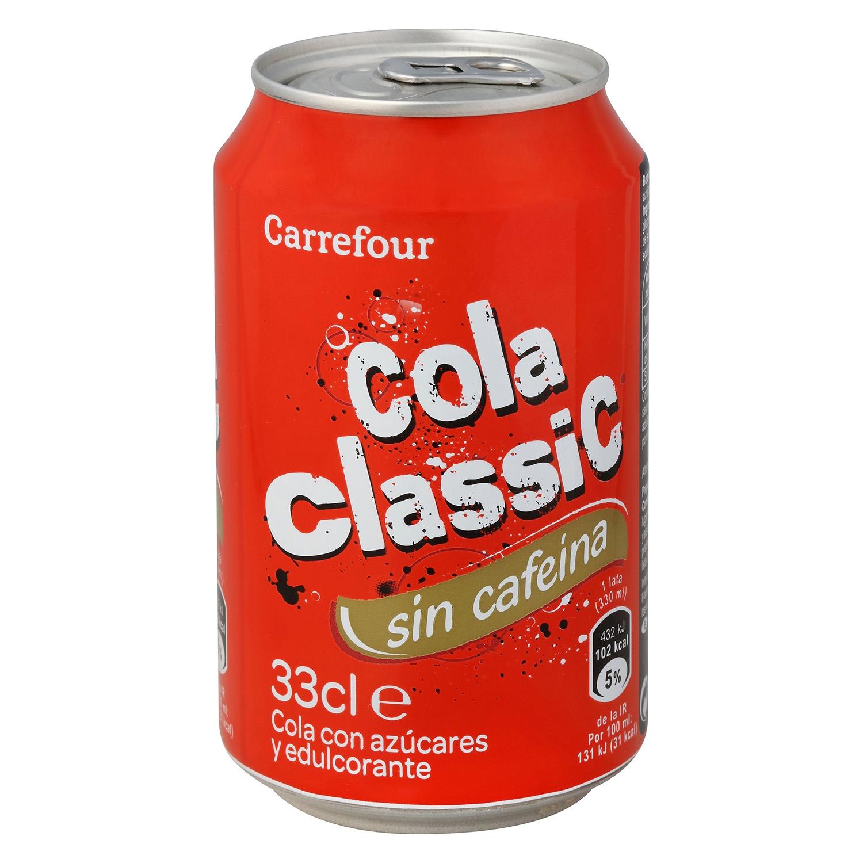 Refresco de cola Carrefour sin cafeína lata 33 cl.