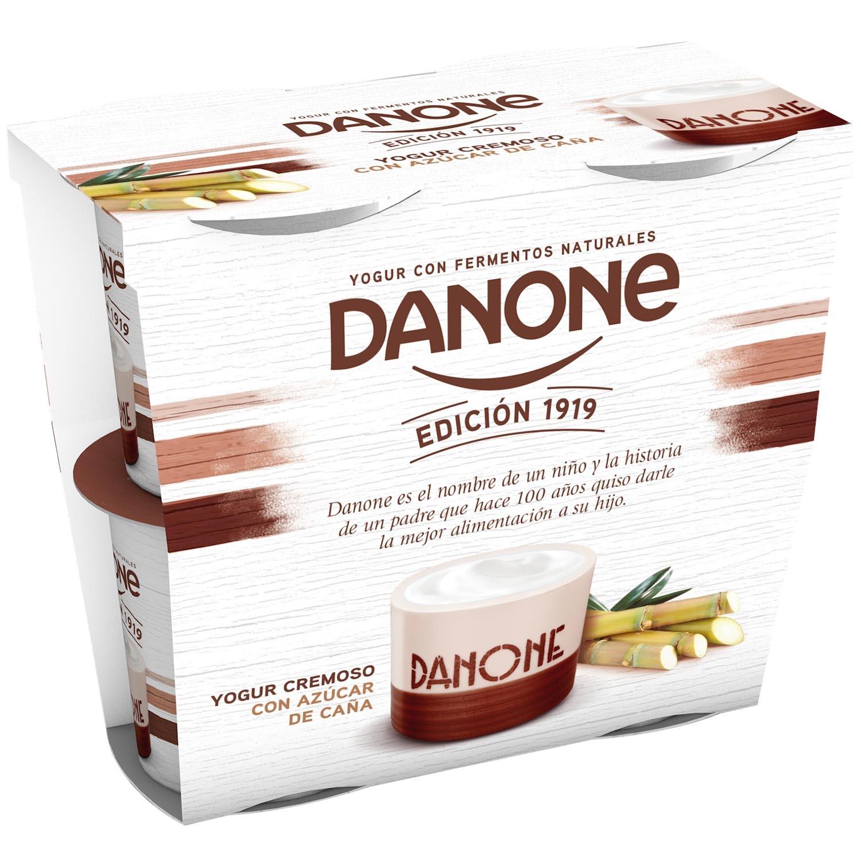Yogur cremoso con azúcar de caña natural Danone pack de 4 unidades de 120 g.