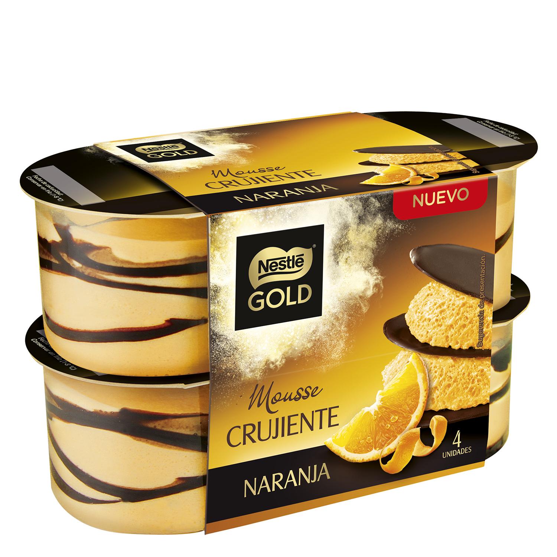 Mousse de naranja crujiente Nestlé - Gold pack de 4 unidades de 57 g.