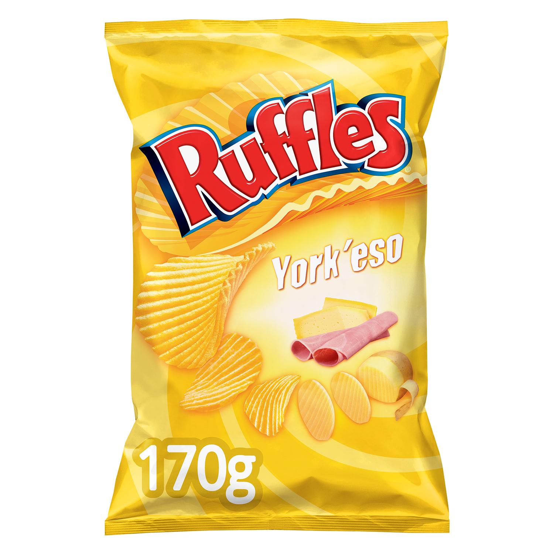 Patatas fritas sabor jamón y queso Ruffles 170 g.