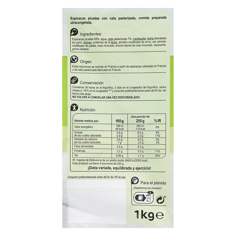 Espinacas a la crema Carrefour 1 kg. -