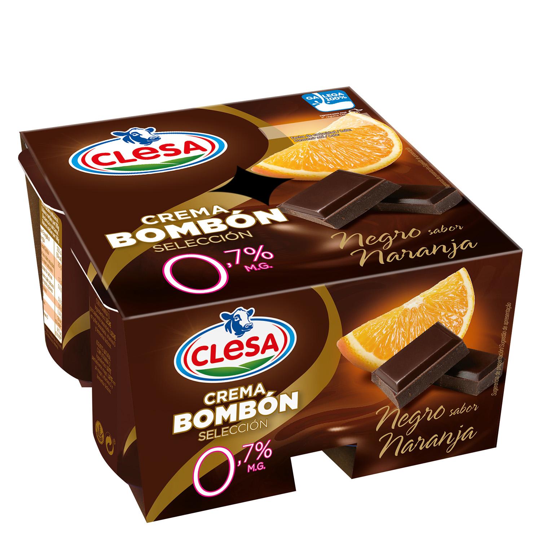 Crema desnatada de chocolate negro sabor naranja Clesa pack de 4 unidades de 125 g.