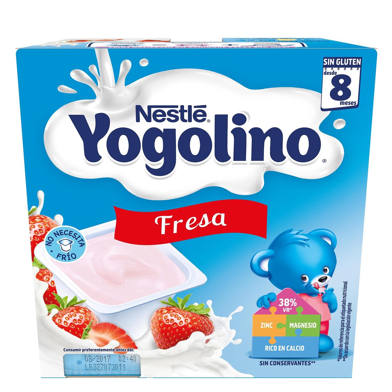 Postre lácteo de fresa desde 8 meses Nestlé Yogolino sin gluten pack de 4 unidades de 100 g.