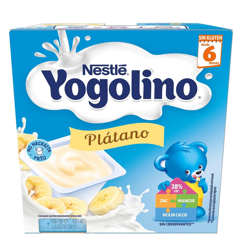 Postre lácteo de plátano desde 6 meses Nestlé Yogolino sin gluten pack de 4 unidades de 100 g.