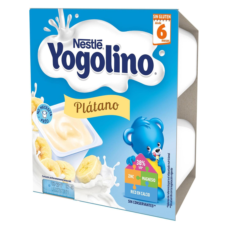 Postre lácteo de plátano desde 6 meses Nestlé Yogolino sin gluten pack de 4 unidades de 100 g. -