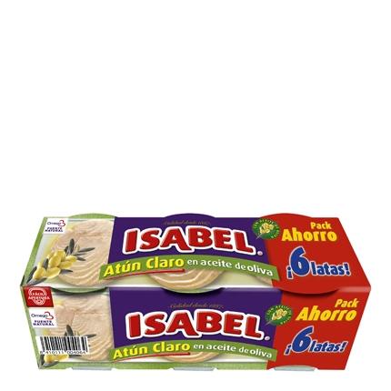 Atún claro en aceite de oliva Isabel pack de 6 unidades de 52 g.