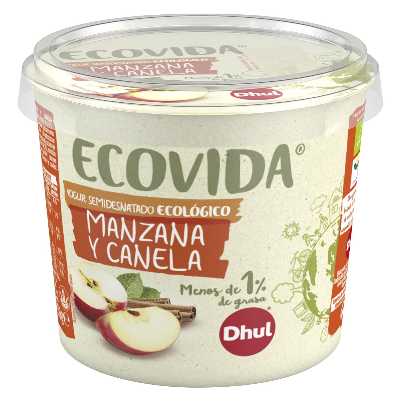 Yogur semidesnatado de manzana y canela ecológico Dhul Ecovida 250 g.