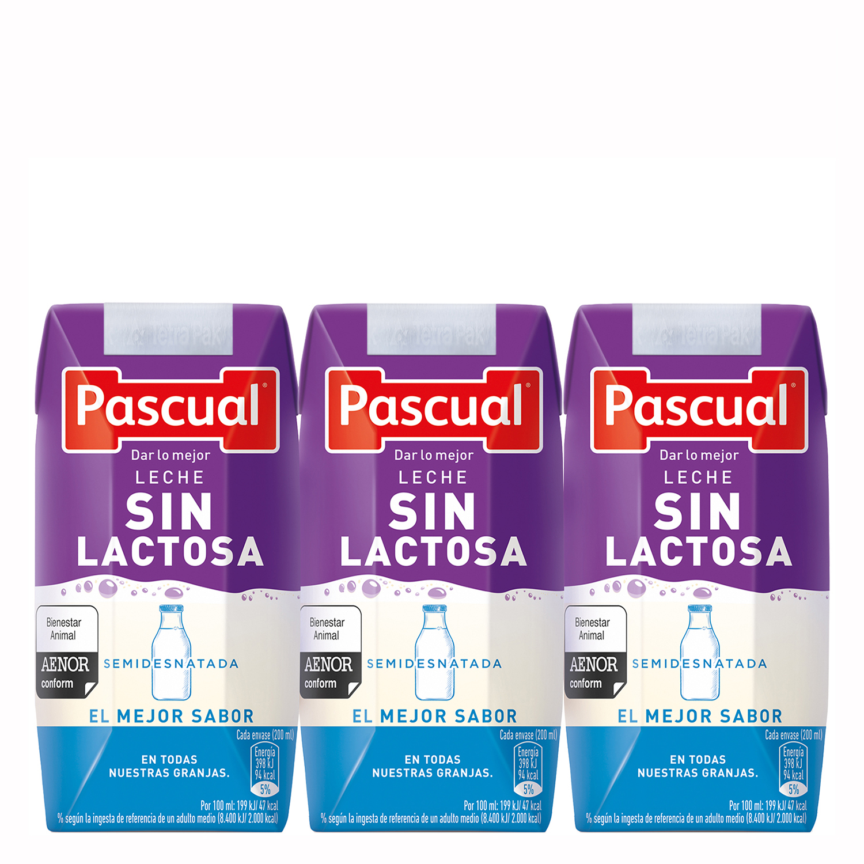 Leche semidesnatada Pascual sin lactosa pack de 3 briks de 200 ml.