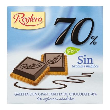 Galletas con tableta de chocolate 70 % sin azúcares añadidos Reglero 140 g.