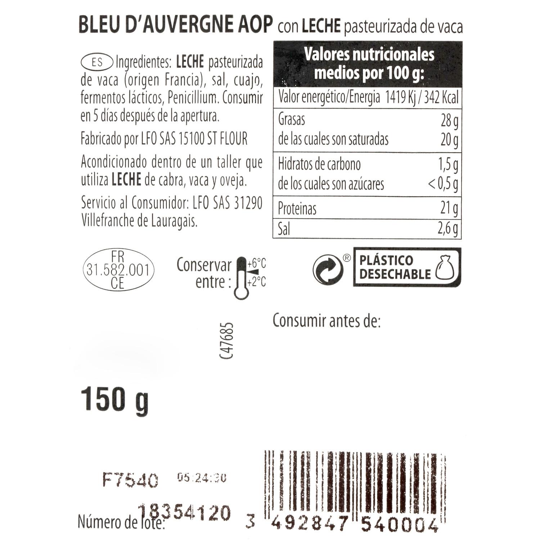 Queso azul d'Auvergne D.O.P. leche past. vaca Comptoir des Affineurs cuña 150 g  - 3