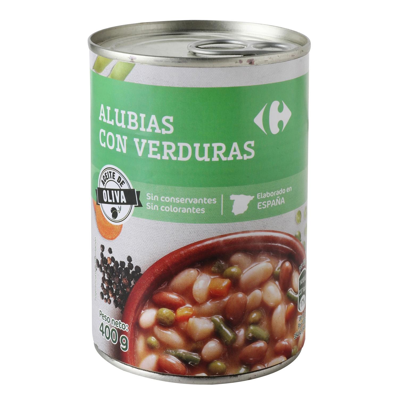 Alubias con verduras con aceite de oliva
