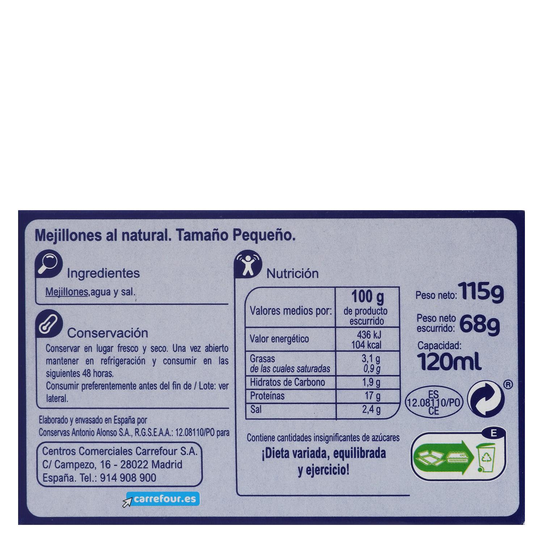 Mejillones al natural 14/18 Carrefour 68 g. -