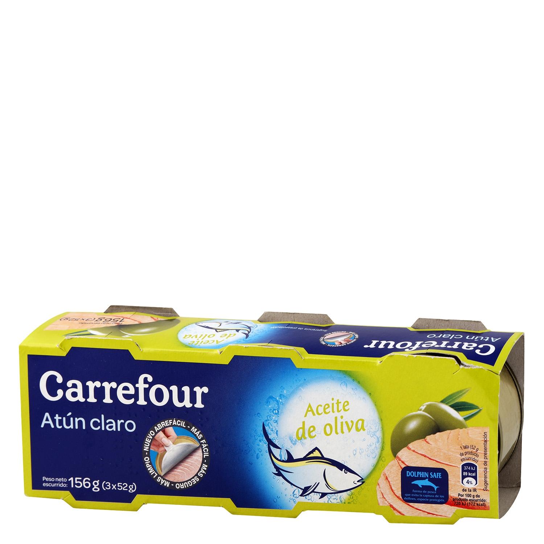 Atún claro en aceite de oliva Carrefour pack de 3 unidades de 52 g.