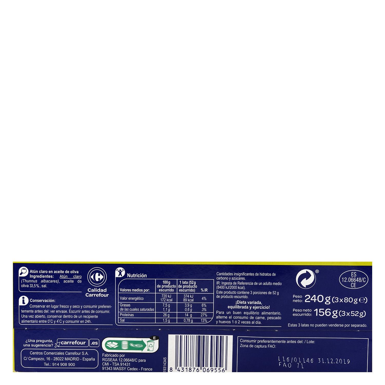 Atún claro en aceite de oliva Carrefour pack de 3 unidades de 52 g. -