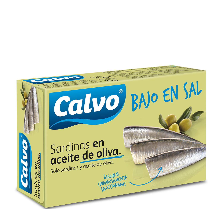 Sardinas en aceite de oliva ''bajo en sal'' Calvo 84 g.