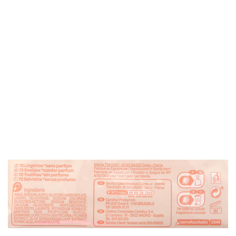 Toallitas para bebé con tapa sensitive Carrefour Baby 72 ud. -
