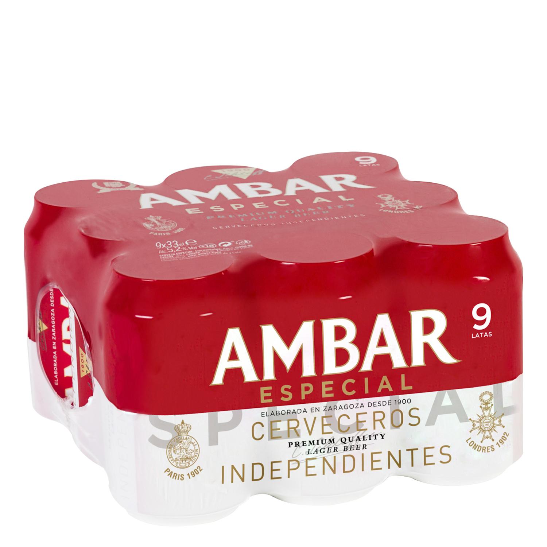 Cerveza Ambar Lager especial pack de 9 latas de 33 cl.