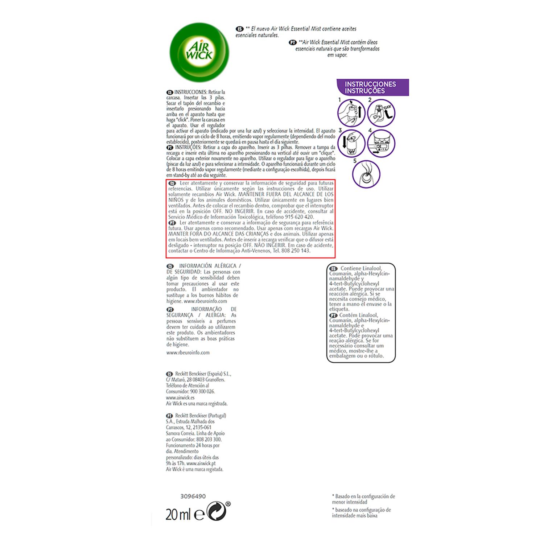 Ambientador lavanda Essential Mist  recambio Air Wick 1 ud. -