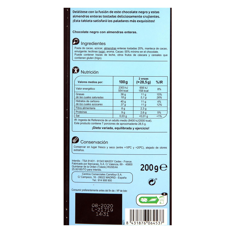 Chocolate negro con almendras enteras Carrefour 200 g. -