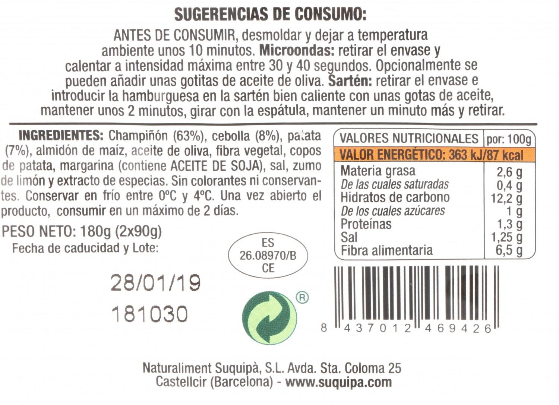 Hamburguesa de Champiñones 100% Vegatal Burguesana Suquipá (2x90g) 180 g - 3