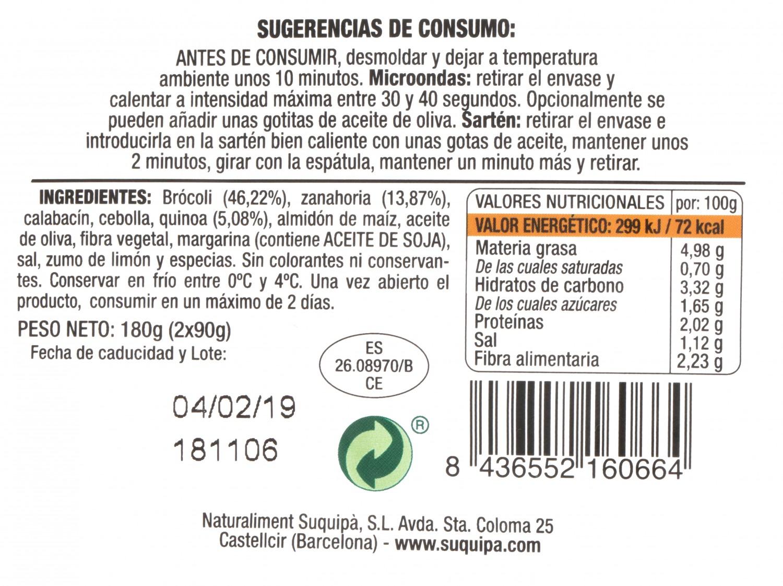 Hamburguesa de Quinoa y Brocoli 100% Vegetal Burguesana Suquipá (2x90g) 180 g - 3