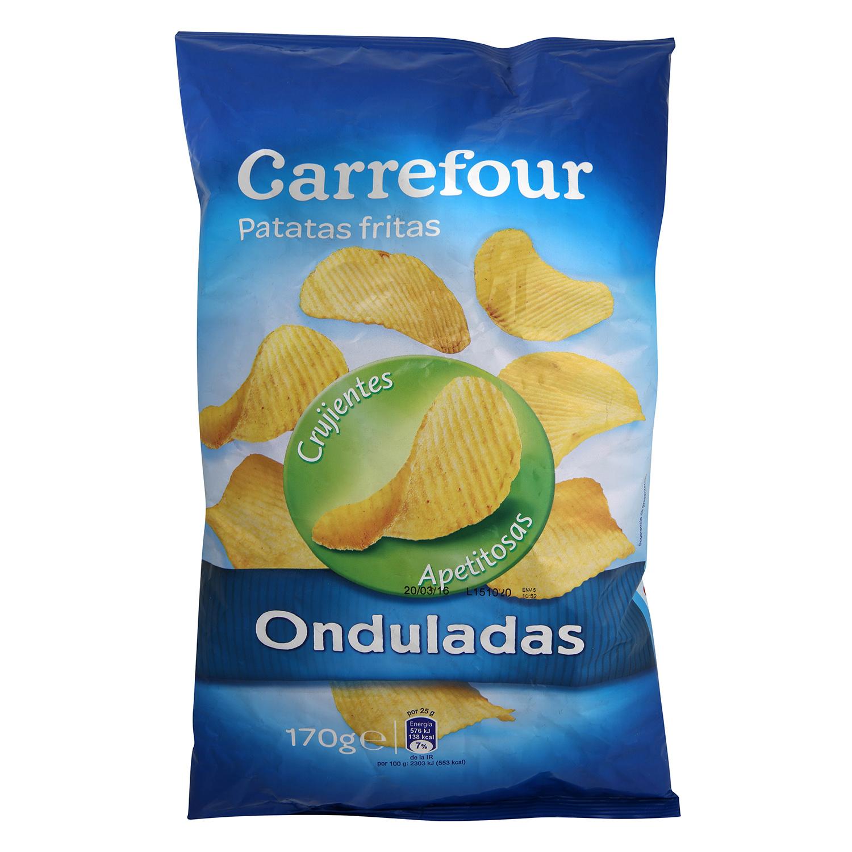 Patatas fritas Carrefour onduladas 170 g.