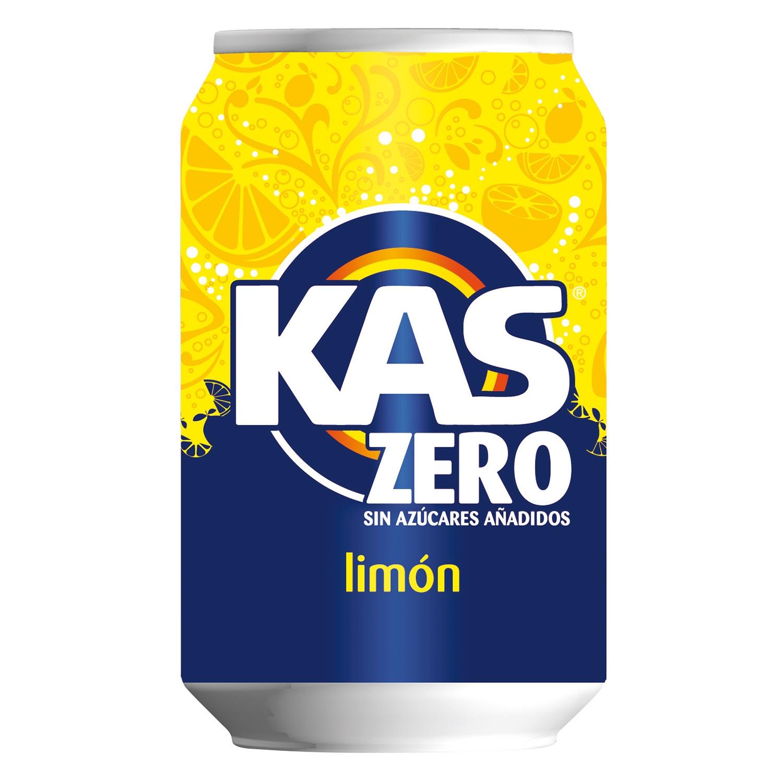 Refresco de limón Kas con gas zero lata 33 cl.