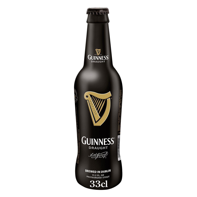 Cerveza Guinness Draught irlandesa negra botella 33 cl.
