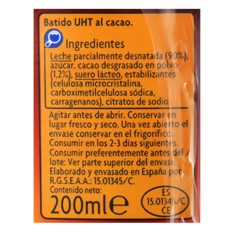 Batido de cacao Carrefour Kids pack de 6 briks de 200 ml. -